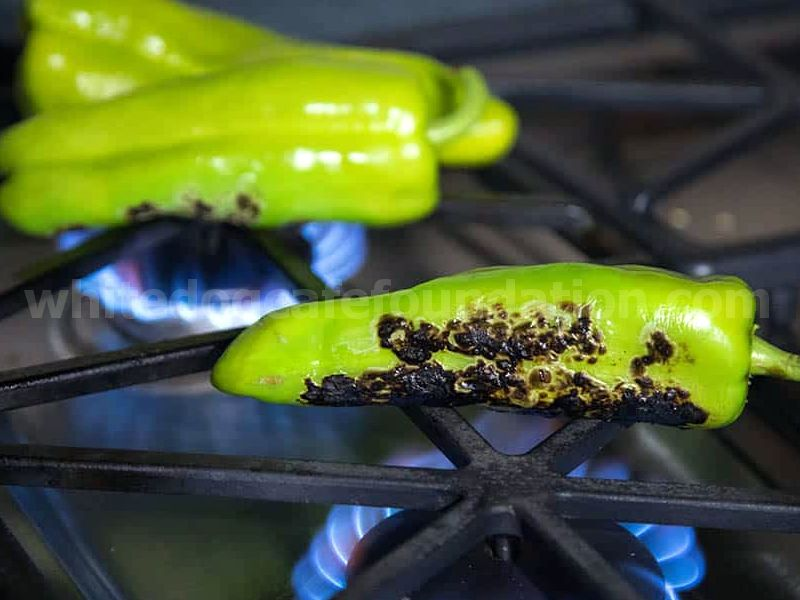 Roasting the Anaheim peppers