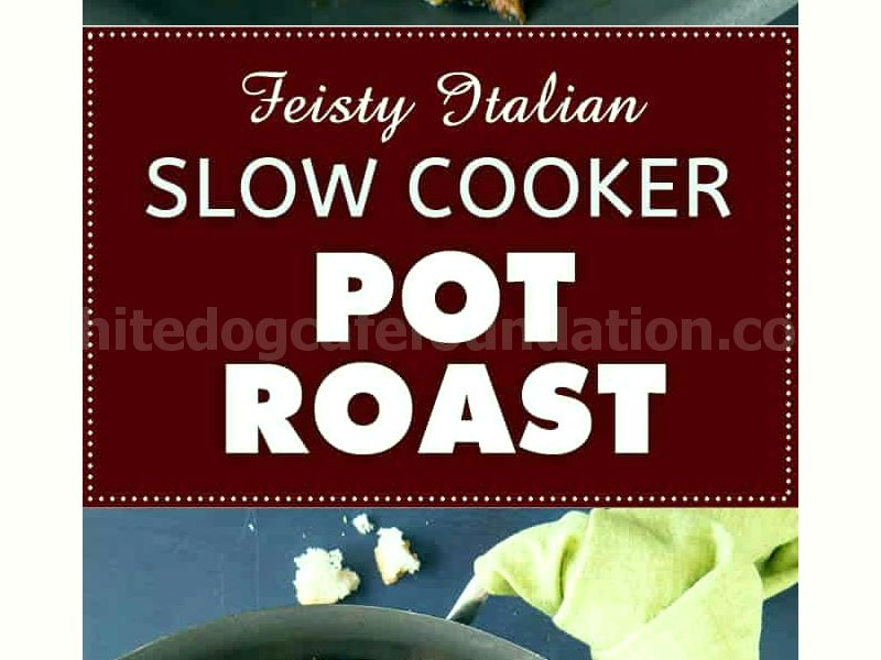 Feisty Italian Slow Cooker Pot Roast - Recipe | ChiliPepperMadness.com #potroast #beefroast #slowcooker #crockpot #spicyfood
