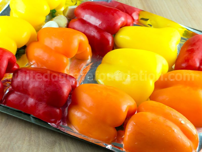 Roasted Peppers in Garlic Olive Oil - Roasting the Chili Peppers