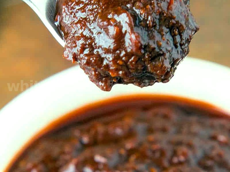 Red Enchilada Sauce - Thick, on a Spoonv