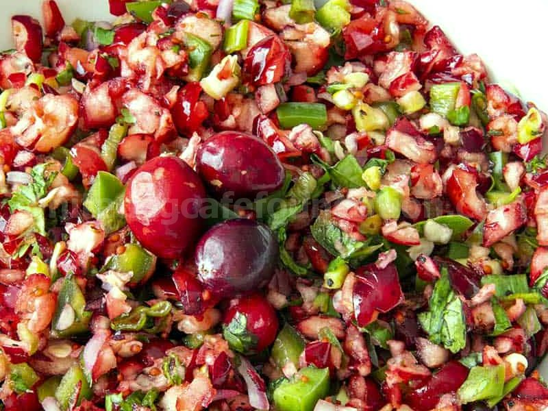 Fresh Cranberry Salsa ready to serve, with chips