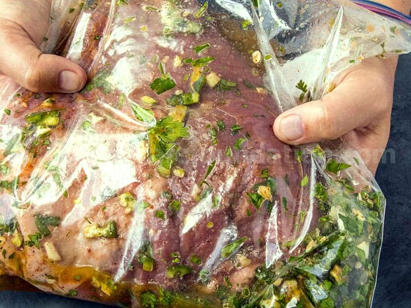 Flank Steak marinating in a plastic bag